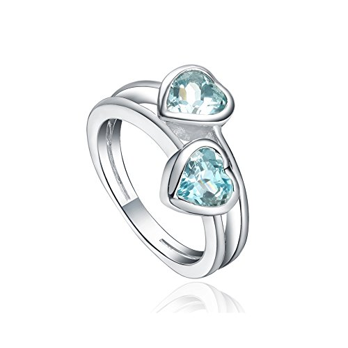 925 Sterling Silver Bypass Double Hearts Promise Ring With Aqua Color Cz