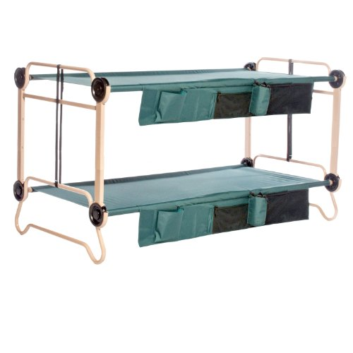 Disc-O-Bed Cam-O-Bunk with 2 Organizers and Leg Extension, Tan/Green, X-Large