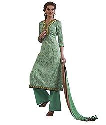 Admyrin Women Green Cambric Cotton Dress Material