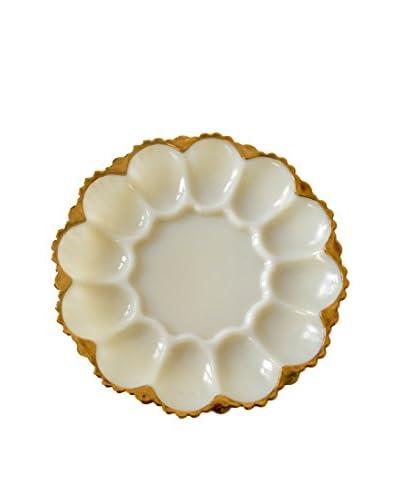 Patina Vie Vintage Milk Glass Egg Platter, White/Gold