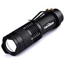 Canwelum Weatherproof 300lm Mini CREE Q5 LED Flashlight Being Adjustable Focusing and Zoom Torch Light with High Beam, Low Beam and Strobe Light
