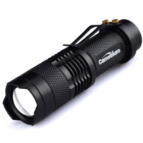 Canwelum Water-proof 300lm Mini CREE Q5 LED Flashlight Being Adjustable Focusing and Zoom Torch Light with High Beam, Low Beam and Strobe Light