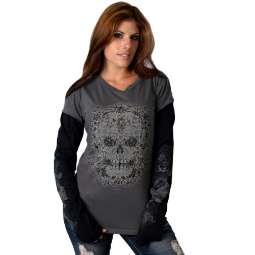Hot Leathers Victorian Skull Ladies Long Sleeve T-Shirt (Charcoal, XX-Large)