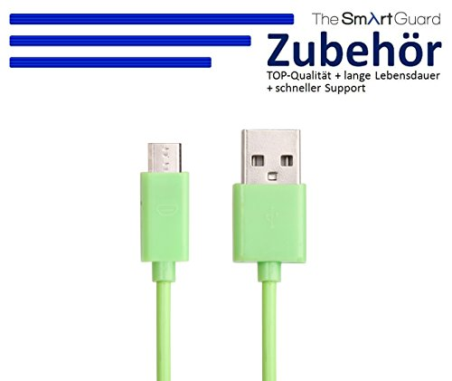 1 x Samsung Galaxy S4 Datenkabel / Ladekabel / S 4 / S IV GT-I9500, GT-I9505 / S4 Mini - Micro USB / Premium Highspeed Kabel in grün - 1 Meter - von THESMARTGUARD