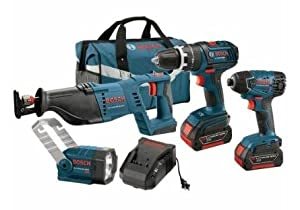 Bosch CLPK431-181 18-Volt Lithium-Ion 4-Tool Heavy Duty Combo Kit with 1/2-Inch Drill/Driver, Reciprocating Saw, Impact Driver, Flashlight, 2 Batteries, Charger and Case