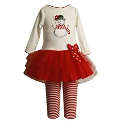 Bonnie jean toddlers 2t 4t 2 piece ivory red embroidered holiday