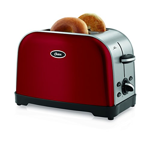 Oster TSSTTRWF2R Brushed 2-Slice Toaster, Red (Oster Toaster 2 Slice Red compare prices)