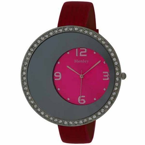 Henley Diamante Off Centre Dial Pink Ladies Wrist