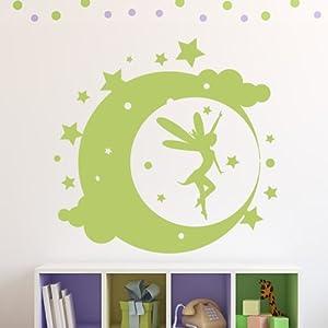 Hada Luna Pegatina de Pared. Arte de Pared Hada disponible en 5 tamaños y 25 colores