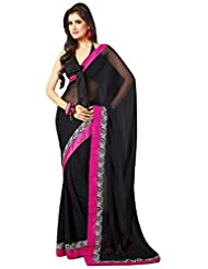 Janasya Women's Black Colour Chiffon Saree With Pink Border
