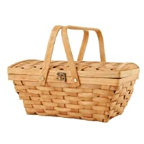 Wald Imports 14-Inch Woodchip Picnic Basket with Folding Handles