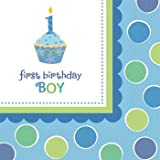 Sweet Cupcake Boy Napkins (Pack Of 16)