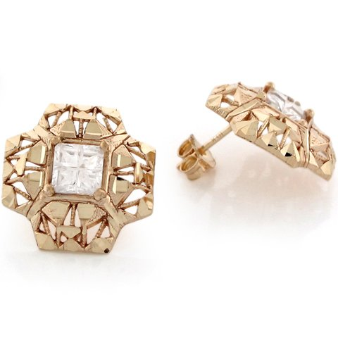 10k Yellow Real Gold White CZ Square Cross Design Womens Earrings