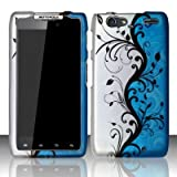 Motorola Droid Razr Maxx XT912M Accessory - Blue/Silver Vines Design Protective Hard Case Cover for Verizon+Screen/Lens Cleaning Cloth