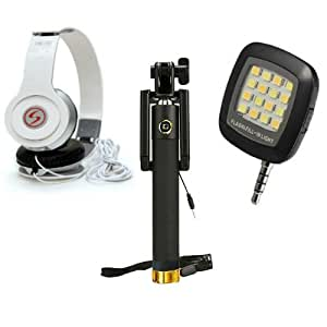 Premium Travel VM46 Headphones+Sefie Stick Aux+SelfieFlash Compatible with Asus Zenfone Go ZB452KG