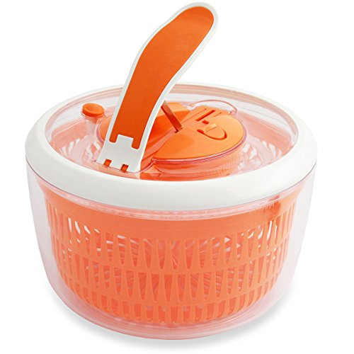 Kuisiware OneSpin Salad Spinner - Premium Salad Spinner with Paddle Mechanism, Large 5.2 Quarts, Orange