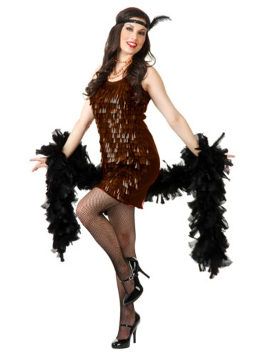 Womens Sexy Brown Roaring 20s Tear Drop Sequin Flapper Costume Dress