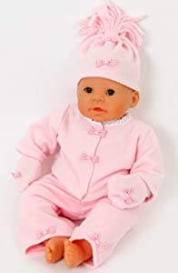 FRILLY LILY NEW COMPLETE PINK FLEECE SET FOR MEDIUM DOLLS 18-20INS INCLUDING JACKET/MITTS/HAT,AND TROUSERS DOLL NOT INCLUDED