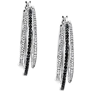Sterling Silver Black & White Diamond Ladies Hoop Earrings