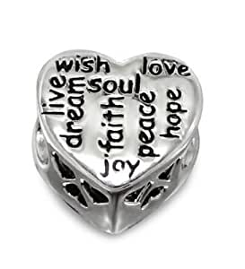 Believe Beads © 1 x Solid Sterling Silver Heart with CZ Stones and writing(live, dream, wish, soul, faith, joy, peace, hope and love) 925 Stamped Charm Bead, Will fit pandora, Troll Chamilia style charm bracelets.