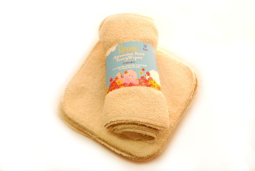 Kissaluvs Awesome Knit Terry Wipes, 12 Pack, Unbleached front-408892