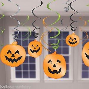 [12 Haunted Halloween Party PUMPKIN Cutout Hanging Swirls Decorations] (Halloween Cut Out Patterns For Pumpkins)