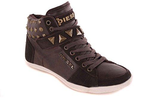 Diesel Zapatillas para mujer Botas de zapatos de alta subbituminoso #52, color marrón, talla 36