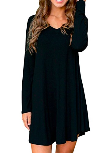 Face N Face Women's Cotton Knitted Long Sleeve Casual Skater Short Dress Tunics Large Black Large Casual Shorts