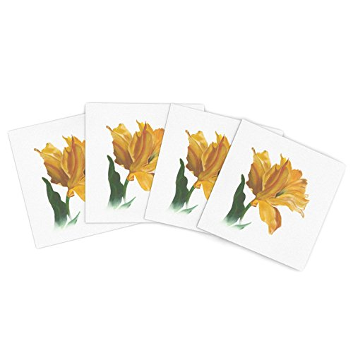"Kess Inhouse Lydia Martin ""Yellow Tulip"" Outdoor Place Mat, 15 By 15-Inch, Set Of 4"