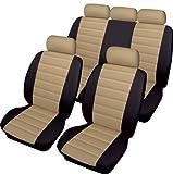 Hyundai i10 i20 i30 i40 Cosmos Carrera Leatherlook Universal Full Set Car Seat Covers in BLACK & BEIGE