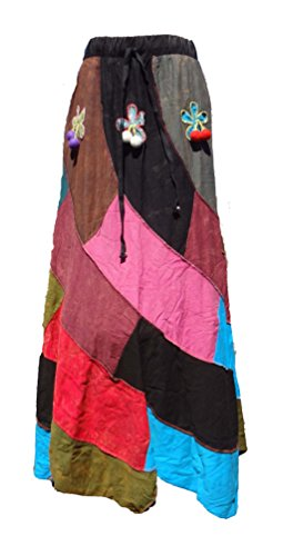 Bohemian-Hippie-Patchwork-Skirt-with-Felt-Applique-Handmade-in-Nepal
