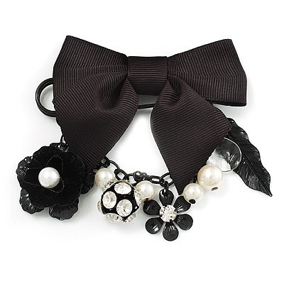 'Bow, Rose, Crystal Ball & Pearl Bead' Charm Black Tone Safety Pin Brooch (Catwalk - 2011)