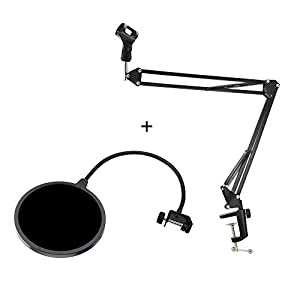 Wanway Microphone Stand + Pop Filter,Mic Microphone Studio Broadcast Suspension Boom Scissor Arm Stand Holder and Wind Screen Pop Filter/ Swivel Mount / Mask Shied