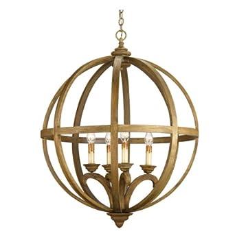 Drexel Orb Curved Wood Round Pendant Chandelier Lamp Ceiling Pendant Fixtur