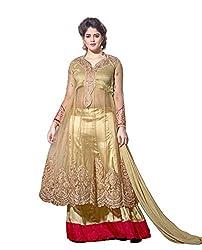 Krishna Golden Red Color Georgette Semi Stitch Dress Material With Dupatta..