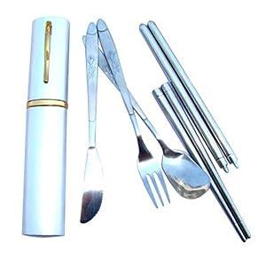 niceeshop(TM) Juego de Cubiertos de Acero Inoxidable Plegable Viaje Cuchara Tenedor Cuchillo los Palillos (Caja de Color Aleatorio)   Más información y revisión del cliente