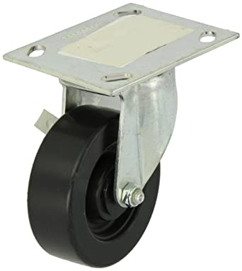 "E.R. Wagner Plate Caster, Swivel, Polyolefin Wheel, Roller Bearing, 375 lbs Capacity, 4"" Wheel Dia, 1-3/8"" Wheel Width, 5-3/8"" Mount Height"