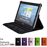 "GMYLE® Black 360 Degree Rotating PU leather Folio Stand Case Cover for tablet Galaxy Tab 1 2 10.1"" P7510 P5100 With Vertical and Horizontal Multi Angle Stand"