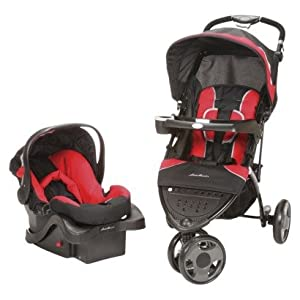 eddie bauer trail hiker 3 wheel travel system red infant car seat stroller travel. Black Bedroom Furniture Sets. Home Design Ideas