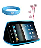 Black-Blue Color Semi Hard Carrying Case for Apple ipad + Pink Handsfree Earphone for iPad + Wristband