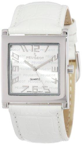 Peugeot Women's 312WT Silver-Tone White Leather Strap Watch