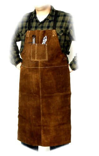Steiner 92166  Bib Apron, Weld-Rite Premium Brown Split Cowhide, 24-Inch x 42-Inch
