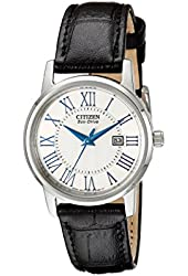 Citizen Women's EW1568-04A Eco-Drive Stainless Steel Watch with Black Genuine Leather Band
