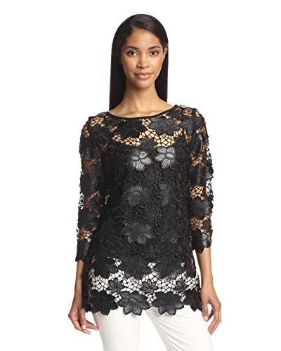 Zelda Women's Faux Leather Floral Tunic