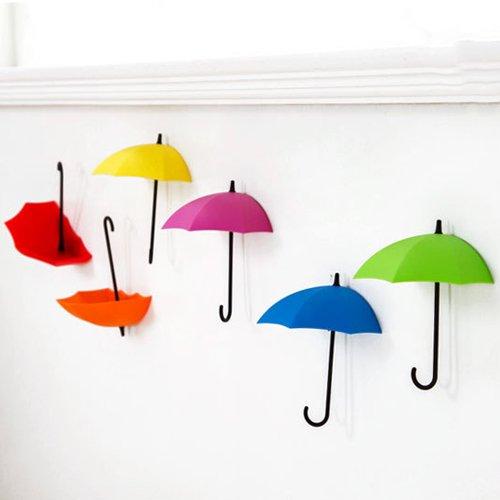 ING STYLE (イング スタイル) 壁面をオシャレに演出 傘型 壁掛けフック 鍵掛け 小物入れ 収納 粘着テープ 傷つけない パラソル アンブレラ 便利でかわいい (全カラー6色セット)