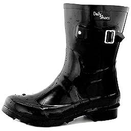 Women\'s DailyShoes Mid Calf Buckle Ankle High Hunter Rain Boot Round Toe Rainboots, 9
