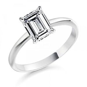 Diamond Manufacturers - Bague de fiancailles avec diamant Émeraude Femme - Or blanc 750/1000 (18 cts) - Diamant 0.28 ct