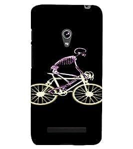 PrintVisa Skeleton Cycle Design 3D Hard Polycarbonate Designer Back Case Cover for Asus Zenfone 5