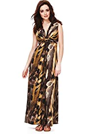 Petite Feather Print Knot Front Maxi Dress