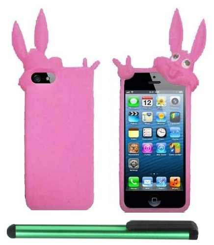 Pink Rabbit Silicone Skin Premium Design Protector Soft Cover Case Compatible for Apple Iphone 5 (AT&T, VERIZON, SPRINT) + Combination 1 of New Metal Stylus Touch Screen Pen (4